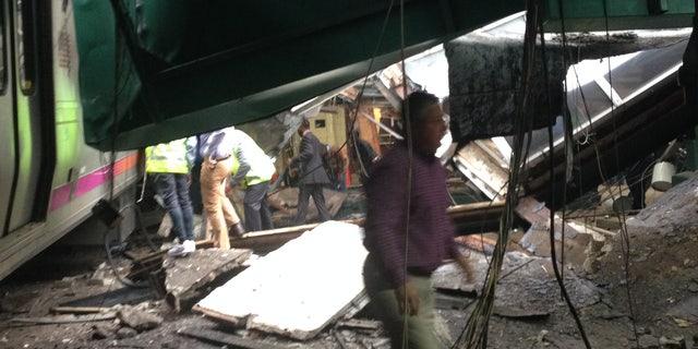 Crews at the crash site.