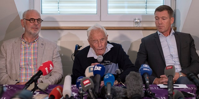 Philip Nitschke, founder and director of the pro-euthanasia group Exit International, 104-year-old Australian scientist David Goodall and lawyer Moritz Gall, from left, attended press conference a day before Goodall's assisted suicide.