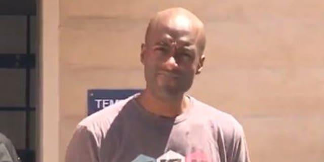 David Herbert, 36, has been accused of abusing two Siberian huskies in Oceanside, California.