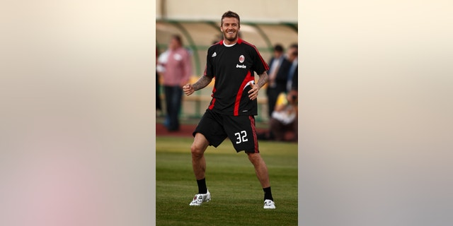 Beckham of Milan before Hungarian League Team vs. AC Milan friendly football match at Puskas Ferenc Stadium on 22th April 2009, in Budapest, Hungary