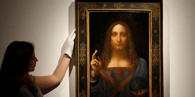 """Salvator Mundi"" painting believed to be by Leonardo da Vinci sold for $450 million on Wednesday in New York."
