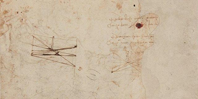 Leonardo da Vinci's scientific drawings on the back of the sheet depicting St. Sebastian (Tajan).