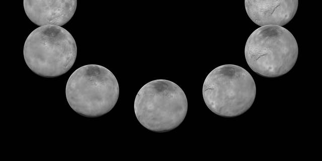 In July 2015, New Horizons captured images of the largest of Pluto's five moons, Charon, rotating over the course of a full day. The best currently available images of each side of Charon taken during approach have been combined to create this view of a full rotation of the moon.