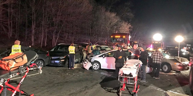 Officials said a 20-car pileup on a Maryland interstate on Monday was caused after a truck carrying stones and gravel lost its load.