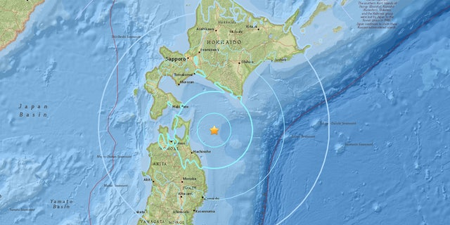 The location of Wednesday's 6.2 magnitude earthquake off the coast of Japan.