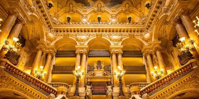 DJ25K5 Ornate entrance to Palais Garnier - Opera House, Paris France. Image shot 2013. Exact date unknown.