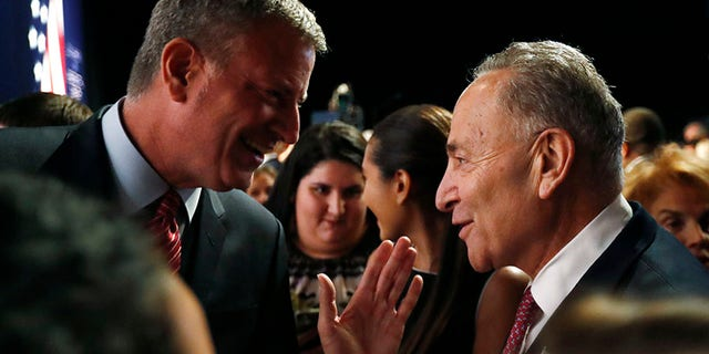 Sen. Chuck Schumer and Mayor Bill de Blasio called for a military parade in 2014.