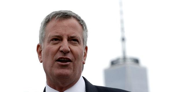 New York City Mayor Bill de Blasio is seen speaking in Brooklyn.