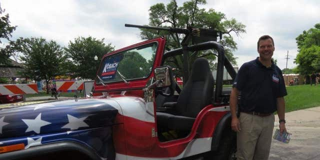 Trump-endorsed Kansas gubernatorial candidate Kris Kobach frequently drove this Jeep on the campaign trail.