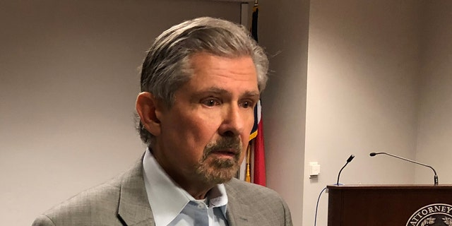 Kent Whitaker speaks to reporters after asking the chairman of the Texas Board of Pardons and Paroles to spare the life of his son Thomas Whitaker, a death row inmate who is set the be executed Feb. 22.