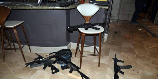 The kitchenette in the hotel room of Las Vegas gunman Stephen Paddock's 32nd-floor room at the Mandalay Bay hotel in Las Vegas. The image was released as part of a preliminary report by Clark County Sheriff Joe Lombardo on Jan. 19.