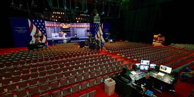 Sept. 25, 2016: A look inside the debate hall at Hofstra University in Hempstead, NY.