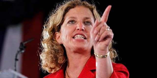 Rep. and Chair of the Democratic National Committee Debbie Wasserman  Schultz speaks at a rally before first lady Michelle Obama came onstage in Fort Lauderdale, Fla., Aug. 22, 2012. (REUTERS/Joe Skipper)