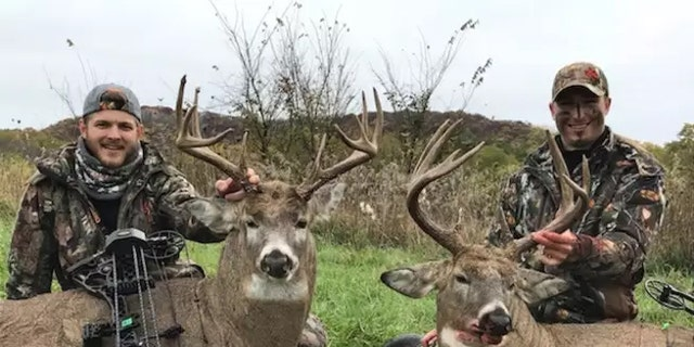 Morgan (left) and Krimmer (right) with a pair of big-bodied Buffalo County bucks.