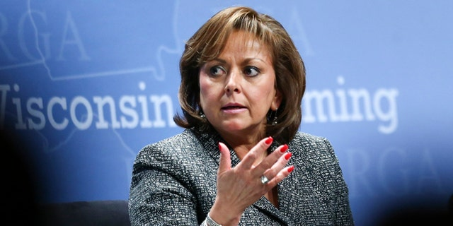 FILE - In a Wednesday, Nov. 18, 2015 file photo, New Mexico Gov. Susana Martinez participates in a panel discussion during the Republican Governors Association annual conference in Las Vegas. A deeply divided legislative body led to stalemates on a number of bills, including millions of dollars for public works projects across the state. Republican Gov. Martinez denounced Democratic lawmakers before calling a special session to pass the capital projects. (AP Photo/Chase Stevens, File)