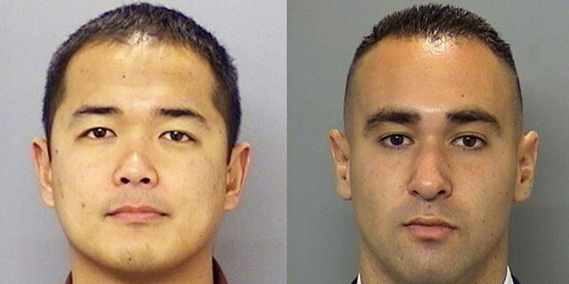 San Diego Police Officer Jonathan DeGuzman, left, was shot and killed Thursday night, while Officer Wade Irwin was injured.