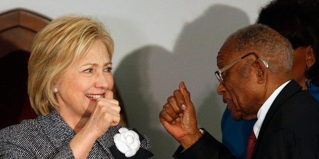 Dec. 1, 2015: Democratic presidential candidate Hillary Clinton greets and gives a thumbs-up to Fred Gray, Rosa Parks former attorney, before speaking at the Dexter Avenue King Memorial Baptist Church in Montgomery, Ala.