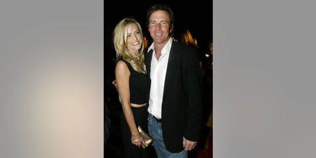 Actor Dennis Quaid and his wife, Kimberly Buffington, arrive for the Texas Film Hall of Fame awards in Austin, Texas March 11, 2005. The Texas Film Hall of Fame, presented annually by the Austin Film Society, recognizes filmmakers from or influenced by Texas. REUTERS/Jeff Mitchell  JM/SA - RTR4S8V