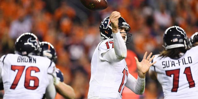 DENVER, CO - OCTOBER 24: Brock Osweiler (17) of the Houston Texans loses the ball against the Denver Broncos during the third quarter on Monday, October 24, 2016. The Denver Broncos hosted the Houston Texans. (Photo by Helen H. Richardson/The Denver Post via Getty Images)
