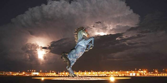 The bright blue Mustang outside the airport by El Paso artist Luis Jiménez actually killed him in 2006.