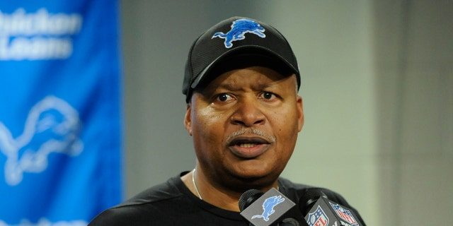 Detroit Lions head coach Jim Caldwell addresses the media after an NFL football game against the Green Bay Packers, Sunday, Dec. 31, 2017, in Detroit.
