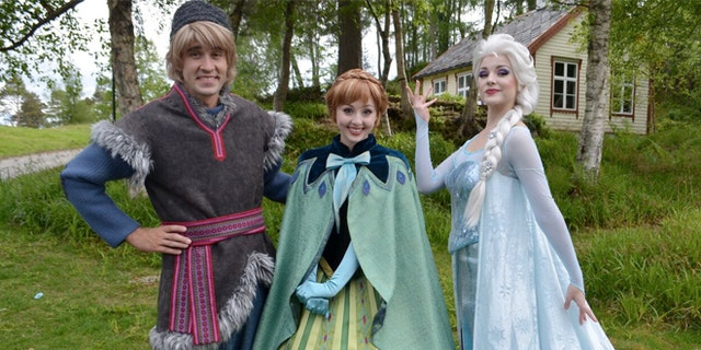 """Kristoff, Anna, and Elsa from Disney's """"Frozen"""" make their first appearance in Norway at Ålesund's Sunnmøre Museum."""
