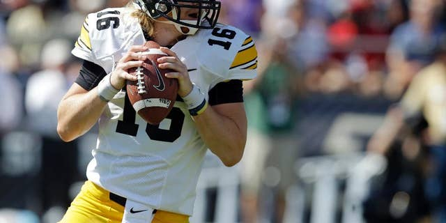 C.J. Beathard, whose brother Clayton was slain in Nashville early Saturday, is seen during his college football days at the University of Iowa, Sept. 27, 2014. (Associated Press)
