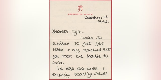 Princess Diana's letter to Buckingham Palace Head Steward Cyril Dickman on Oct. 17, 1992 (Cheffins Fine Art).