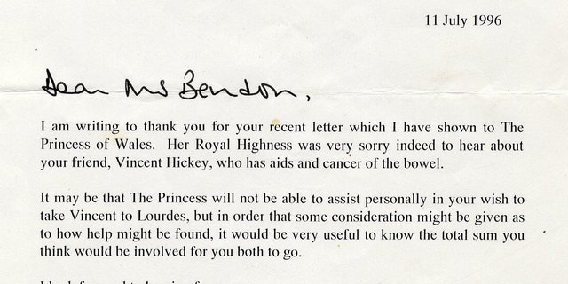One of the letters from Princess Diana that is up for auction in the UK (Henry Aldridge & Son)
