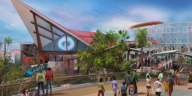 """An illustration of the planned """"The Incredibles"""" roller coaster."""