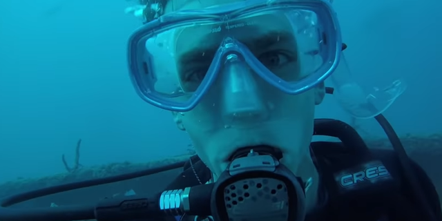 Florida resident Cody Wabiszewski shared a 3-minute video of an unexpected underwater encounter with a great white shark while diving 70 feet below the ocean's surface off the Florida Keys.