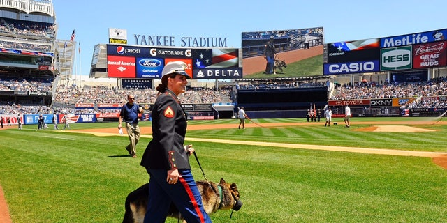 Megan and Rex in a pregame ceremony at Yankee Stadium on May 13, 2012.