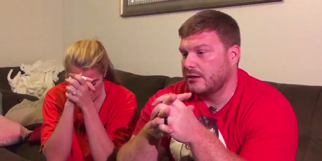 Pet owners Deanna and Matthew Spott in tears while telling Fox 10 Phoenix the story of what happened to Matilda. (Fox 10).