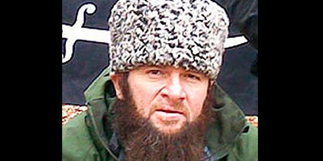 In this screen shot taken in Moscow, Wednesday, Dec. 2, 2009 of a computer screen showing an undated photo of a man identified as Chechen separatist leader Doku Umarov posted on the Kavkazcenter.com site.