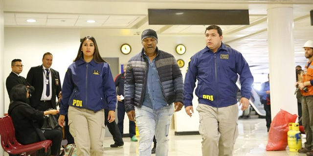 Former heavyweight champion Mike Tyson was sent back to the U.S. after Chilean authorities denied him entry.