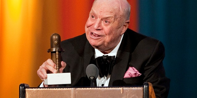 Comedian Don Rickles speaks after receiving the Johnny Carson Award during the second annual 2012 Comedy Awards in New York April 28, 2012.