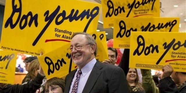 Rep. Don Young, R-Alaska, greets supporters Tuesday Nov. 2, 2010 in Anchorage Alaska.