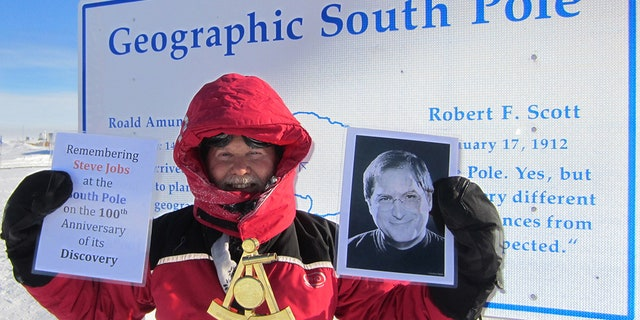 Don Parrish paying tribute to the late Steve Jobs at the South Pole.