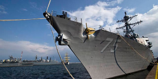 April 14, 2014: The USS Donald Cook is docked in the Black Sea port of Constanta, Romania.
