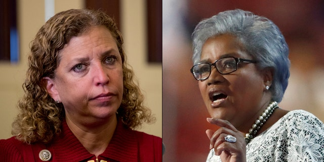 Donna Brazile, right, took over for Debbie Wasserman Schultz at the DNC amid the scandal over hacked emails in the summer of 2016.