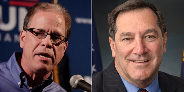 Sen. Joe Donnelly, right, one of 10 Democratic senators seeking re-election in a state Trump won, is running against businessman Mike Braun, left, a Republican.