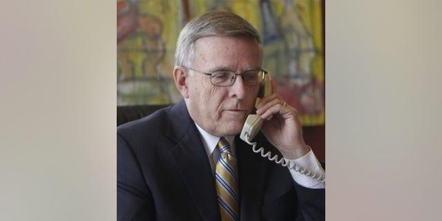 FILE: Sen. Byron Dorgan, D-N.D., talks on the phone in his office on Capitol Hill in Washington on Jan. 6, 2010.