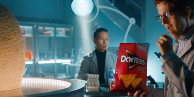 In a special promo video advertising the colossal Doritos, Dr. Henry Wu (played by BD Wong) can be seen in the lab cooking up his latest creation by merging Doritos and dinosaur DNA.