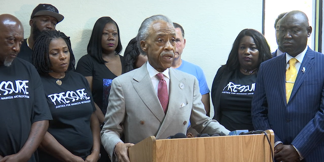 "Reverend Al Sharpton attends a ""Justice for Markeis"" rally in Clearwater with (left to right) Markeis McGlockton's parents, Trayvon Martin's parents and attorneys representing the McGlockton family, Michele Rayner and Benjamin Crump, among others."