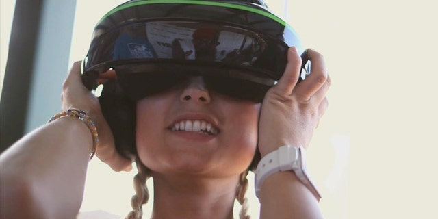 Dani Vierra with First Person View (FPV) racing goggles on (Reckognition Productions/Science Channel).