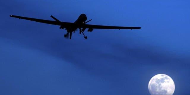 FILE: Jan. 31, 2010: An unmanned U.S. Predator drone flies over Kandahar Air Field, southern Afghanistan.