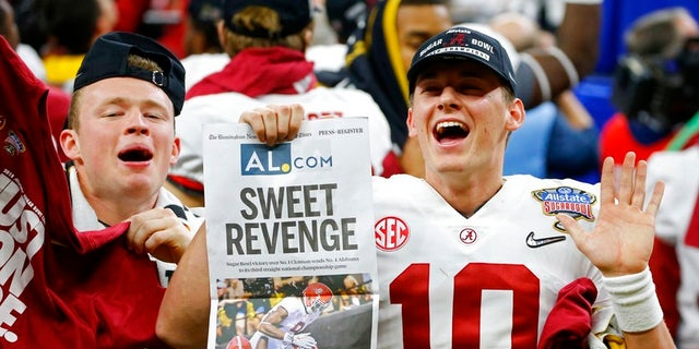 Alabama quarterback Mac Jones (10) celebrates with fans after defeating Clemson in the Sugar Bowl game, in New Orleans, Jan. 1, 2018.