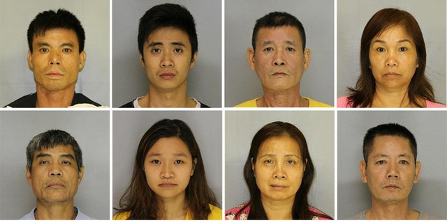 Top, left to right: Nam Van Dao, Phi Ngoc Luong, Minh Luong, Thi Thi Phan. Bottom, left to right: Bin Van Hoang, Thao Phoung Nguyen, Hang Nguyen, Henry Nguyen. A mugshot for Trung Bui was not available.