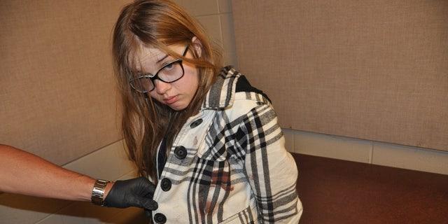 Morgan Geyser was taken into custody with blood splatter on her jacket.