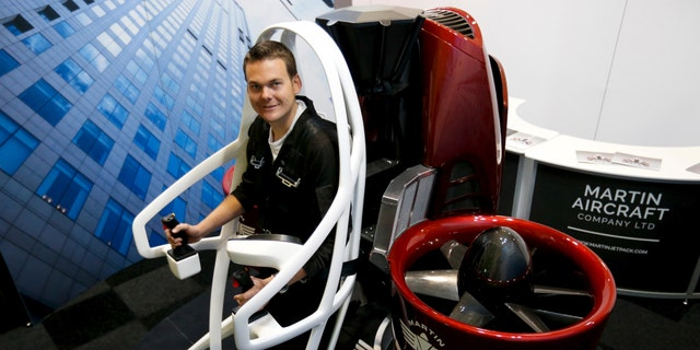 File photo - Martin Aircraft test pilot Michael Van Der Vliet is strapped into his company's jetpack during the 51st Paris Air Show at Le Bourget airport near Paris, June 20, 2015. (REUTERS/Pascal Rossignol)